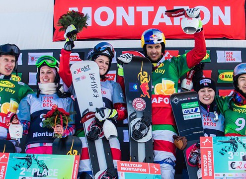 Podium of Parallel Team Event World Cup Montafon (c) FIS