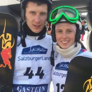 Brother Andrey Sobolev and his sister Natalia Soboleva, Bad Gastein 2015 (c) SG SNOWBOARDS