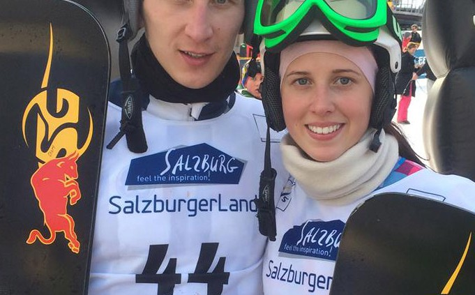 Brother Andrey Sobolev and his sister Natalia Soboleva, Bad Gastein 2015 (c) SG SNOWBOARDS