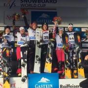 Podium at the Parallel Team Event Worldcup Bad Gastein 2015: 1. (SUI) Nevin Galmarini, Patrizia Kummer, 2. (RUS) Valery Kolegov, Svetlana Boldykova, 3. (RUS) Natalia Sobolev, Andrey Sobolev (c) SG SNOWBOARDS