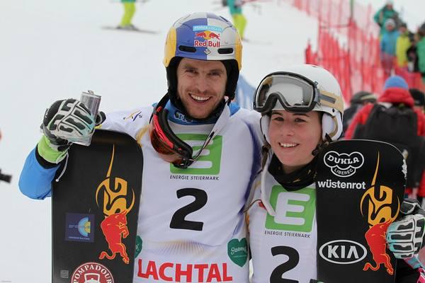 World Champions Roland Fischnaller Ester Ledecka Kreischberg AUT (c) FIS
