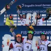 SG SNOWBOARDS Podium Sweep Scuol 2019 Ladies Milena Bykova Ester Ledecka Cheyenne Loch by SG